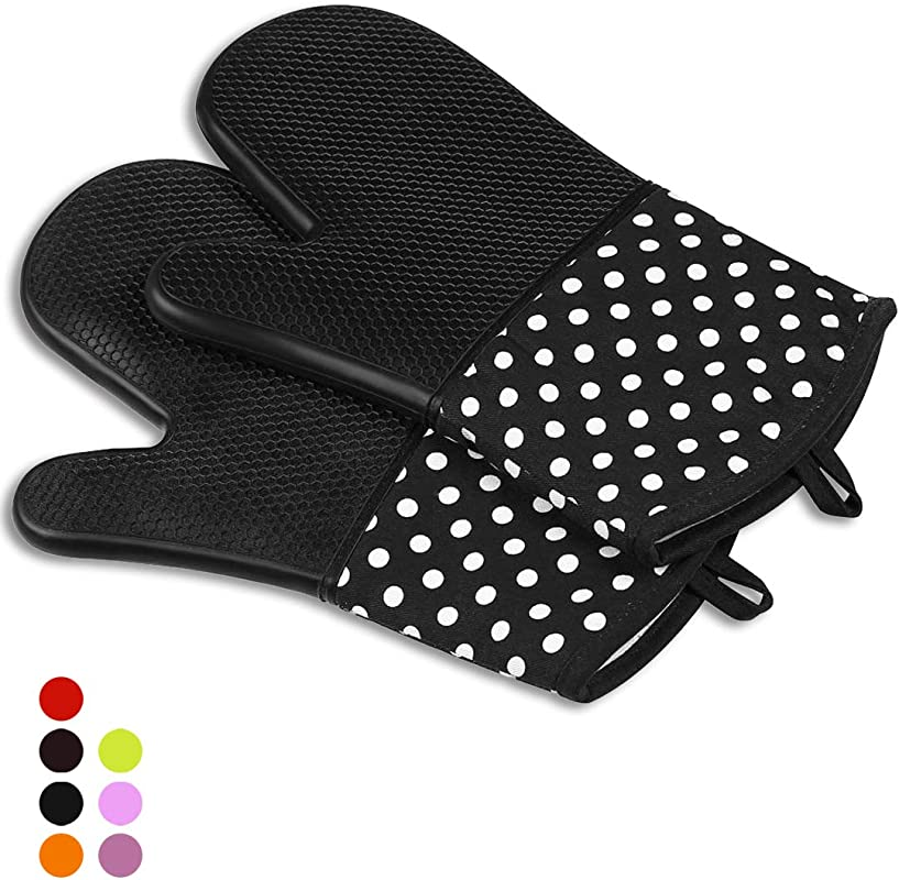 WANG BAO Extra Long Professional Non Slip Silicone Oven Mitts 1 Pair Advanced Heat Resistant With 572 Degree