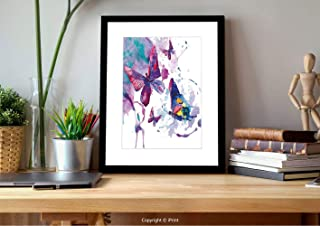 AmaUncle №05402 Framed Wall Art,Butterflies Decorations,Watercolors Print of Sign of The Soul Power Female Art Modern Home Decor,Multi, for Bedroom and Bathroom