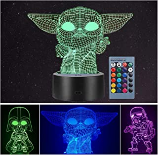 3 Pattern 3D Illusion Star Wars Night Light for Kids, 16 Color Change Decor Lamp - Star Wars Toys and Gifts Baby Yoda/Dart...