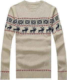 S&S Men's Crewneck Snowflake jacquard Moose Sweater Pullover Jumper Sweater Tops