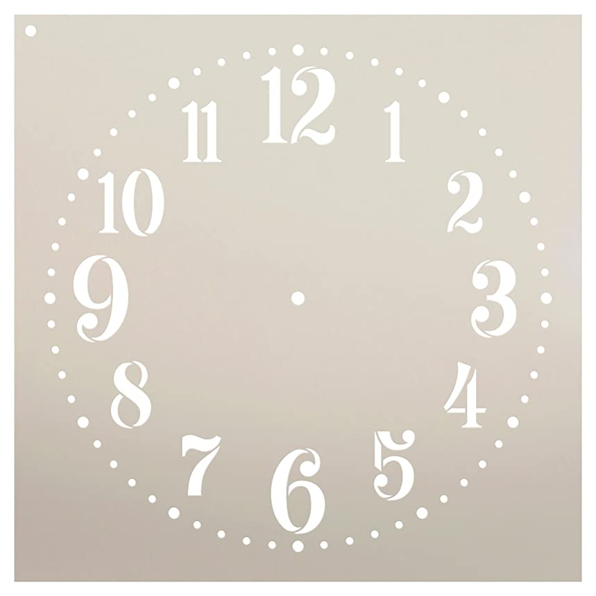 Provincial Clock Face Stencil by StudioR12 | Classic Numbers Clock Art - Reusable Mylar Template | Painting, Chalk, Mixed Media | DIY Decor - STCL2337 - Select Size (16