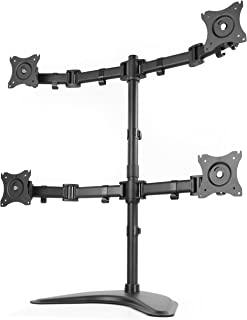 VIVO Quad Monitor Mount Fully Adjustable Desk Free Stand for 4 LCD Screens up to 27 inches (STAND-V004P)