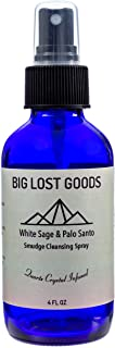 Big Lost Goods White Sage & Palo Santo Smudge Spray. Use for smokeless smudging, Energy Cleansing, and Protection. 4 oz Bottles Handmade and Blended from Pure and Organic Essential Oils and Crystal