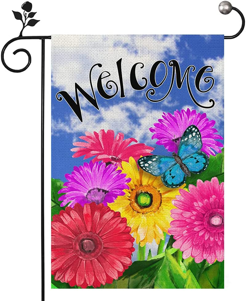 Welcome Garden Flag Butterfly Color Flowers and Blue Sky Small Garden Flags Double Sided 12 x 18 Inch for Yard Farmhouse Decoration