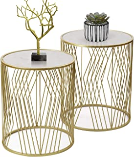 Joveco End Tables Set of 2 Coffee Table Gold Nightstands Indoor Outdoor Decorative Round Nesting Tables (Gold 6)