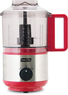 Dash Mini Food Chopper, Blender + Grinder with Stainless Steel Blades for BBQ Sauce, Salsa, Pesto, Salad & Dessert: Easily Meal Prep Onion, Nuts, Cheese, Garlic, Bacon & More, 2 cup, Red