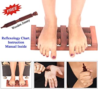 Super India Store Wooden Acupressure Foot Massager with Spiked Rollers Simultaneously Used for Both Feet