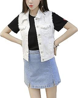 Women's Distressed Denim Vest Short Sleeveless Jean Jacket