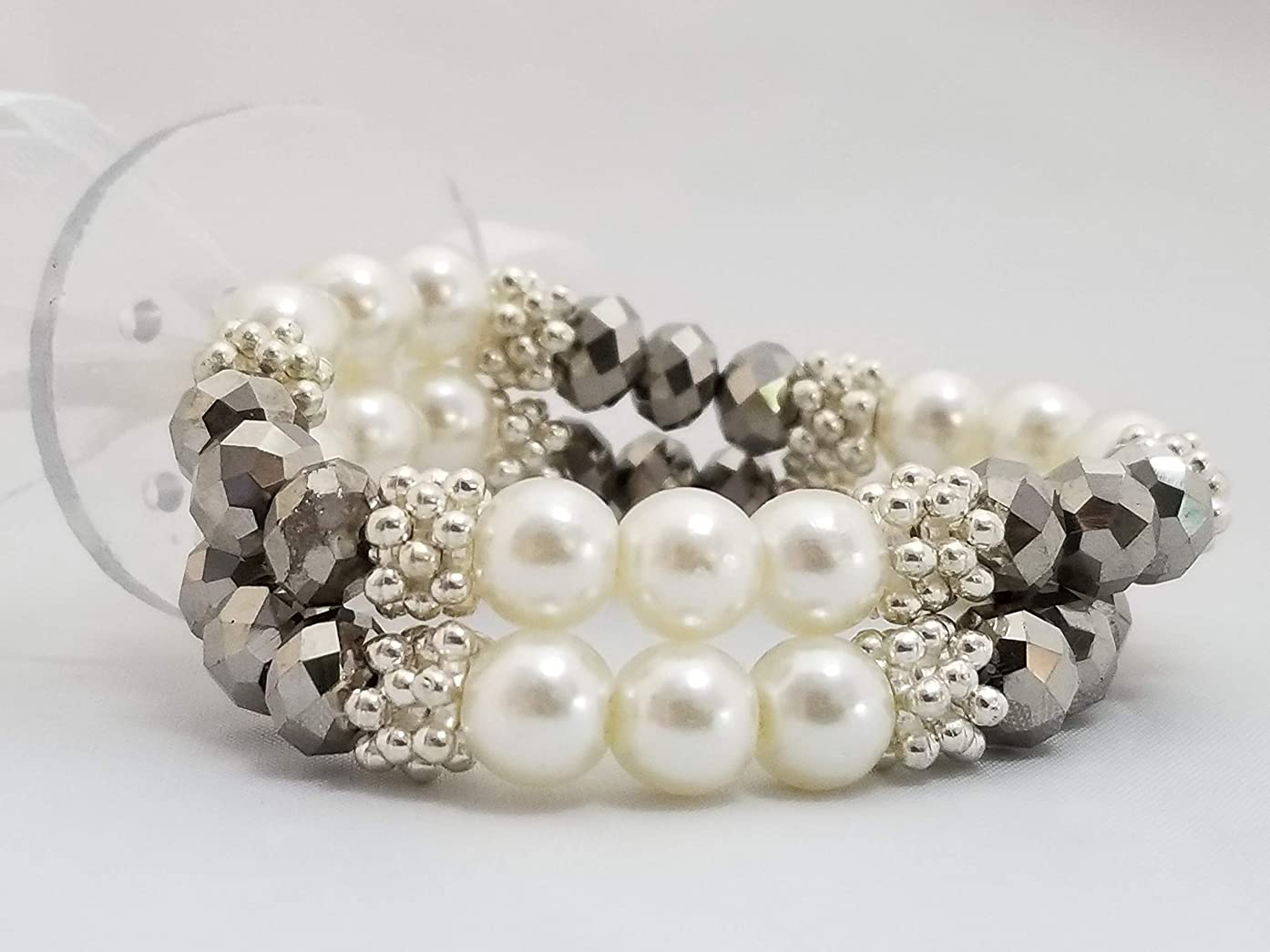 Floral Corsage Bracelet in Pewter, Faux Pearl Rhinestone Grace Collection