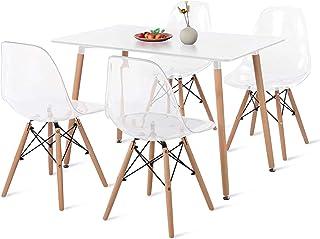 DORAFAIR Mesa Rectangular de Cocina y 4 sillas Transparentes Juego de sillas de Comedor Moderna Nórdica Patas de Madera