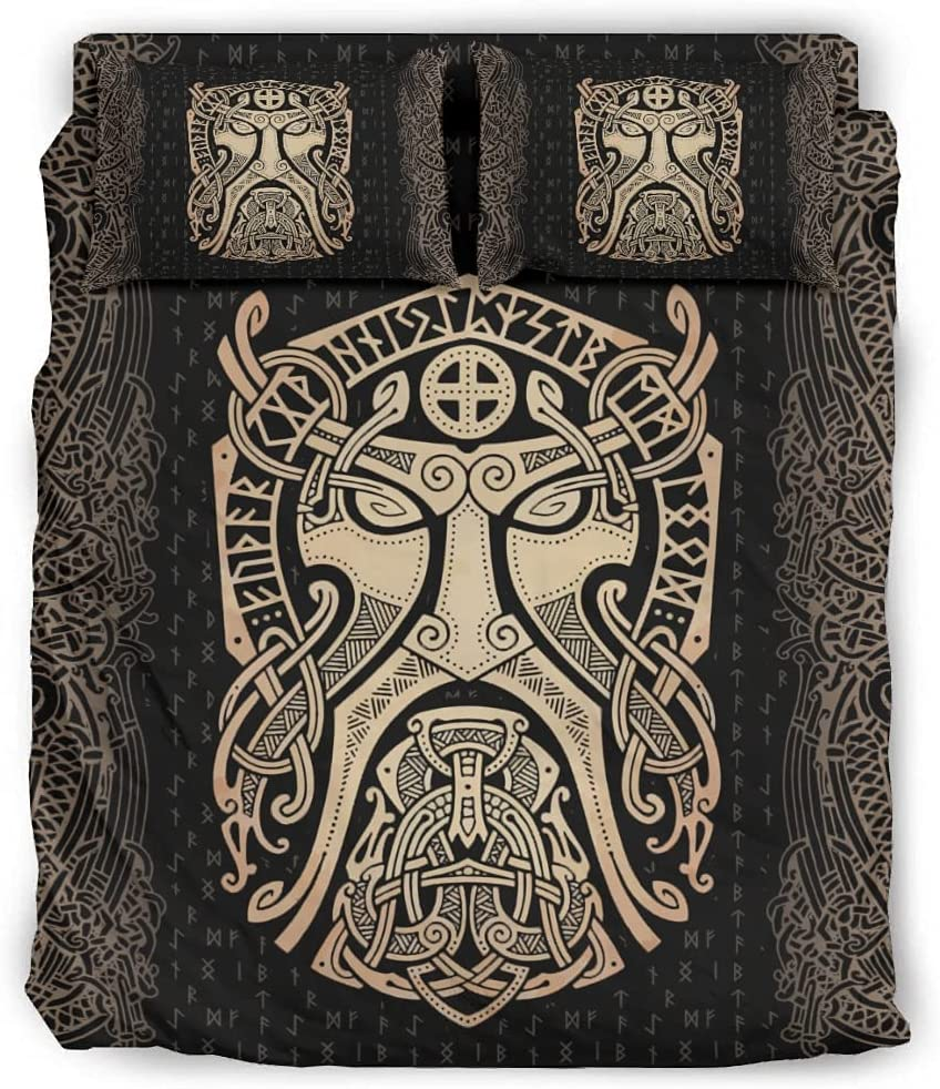 Bedding Under blast sales Cover Sets Viking Odin Quilt Detroit Mall Microfiber 4-Piece - Golden