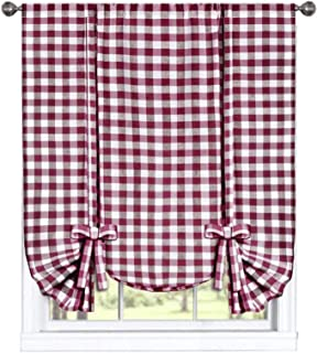 GoodGram Buffalo Check Plaid Gingham Custom Fit Farmhouse Window Curtain Tie Up Shades - Assorted Colors (Burgundy)
