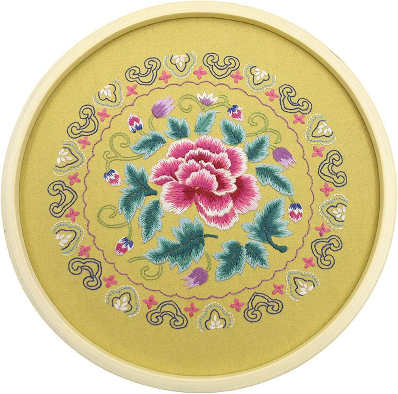Chinese DIY Flowers Embroidery 5 popular Kits with Bamboo Hoop 30cm Max 58% OFF Needle