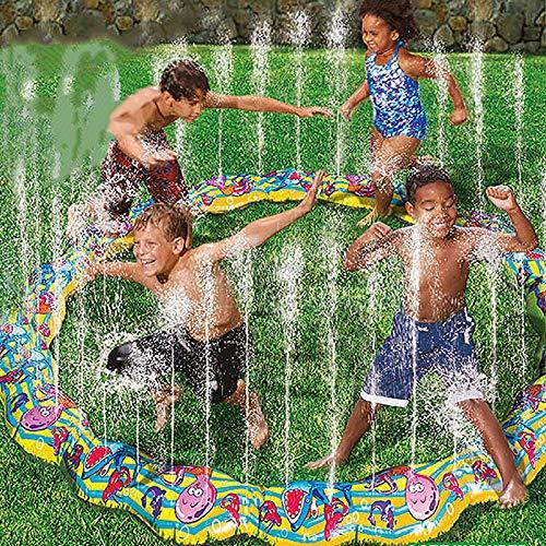 qwqqaq Garten Wasserrutsche,Dual Racing Wasserrutsche Mit Wassersprühen Seitenschienen,Outdoor Verdicken PVC Kinderpool Für Kinder W 183 * 183cm