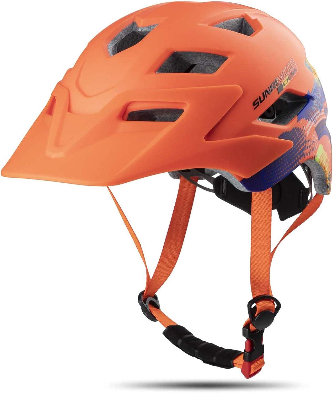 MOKFIRE Kids Helmet - Casco de Bicicleta para niños y niñas con Visera extraíble, Grandes Aberturas de ventilación y Luces traseras LED para Ciclismo, Patinaje y Scooter 54-57cm (5-13 años)