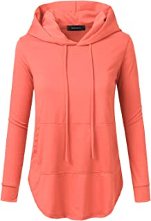 4148248663fe4 Doublju Loose Fit Pullover Hoodie with Kangaroo Pocket for Womens with Plus  Size