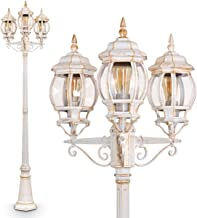 3-flammige rustikale Mastleuchte Laterne IP54 100W get/öntes Glas exkl 3 X E27 Metall in Farbe braun