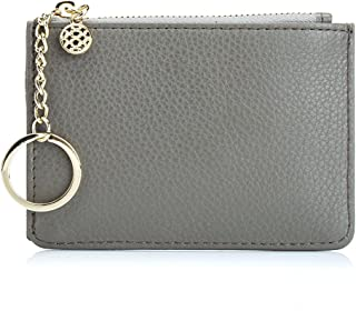 Aladin Leather Coin Purse with Key Chain, Womens Small Zipper Card Holder Wallet