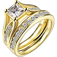 LWLH Jewelry Womens 18K... LWLH Jewelry Womens 18K Yellow/White Gold Plated Cubic Zirconia CZ Promise Engagement Wedding...