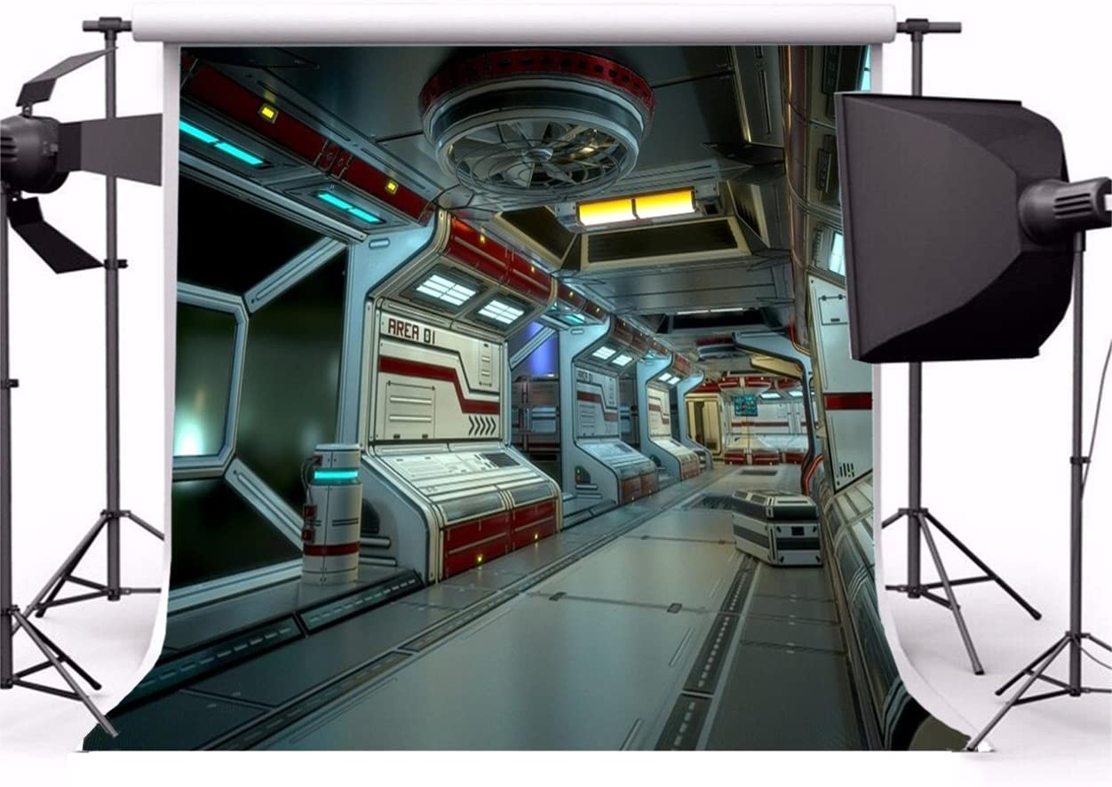 9x6ft Vinyl Space Station Photography Photo Backdrop Universe Outer Space Station Spaceship Interior Photography Background for Kids Boys Adult Birthday Photoshoot Portrait Photo Props
