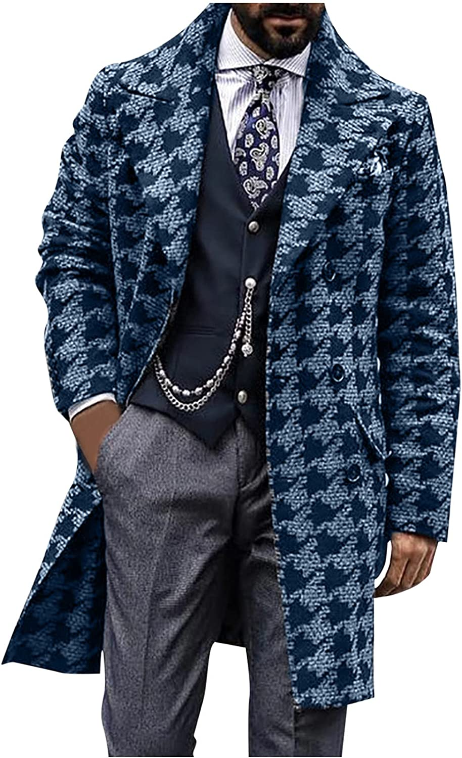 Huangse Men's 2021 Fashion Houndstooth Notched Lapel Double Breasted Trench Coat Autumn Winter Casual Plaid Jacket Peacoat