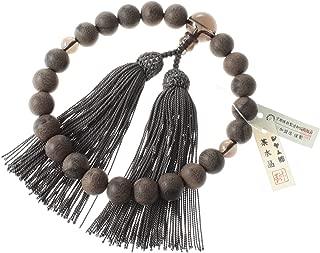 Newstone Kyoto-made Ojuzu Buddhist Prayer Beads, Smokey Quartz Premium Stone X Shamugaki Wood with 100% Silk Tassel [ Made in Kyoto] Handcrafted Juzu Beads