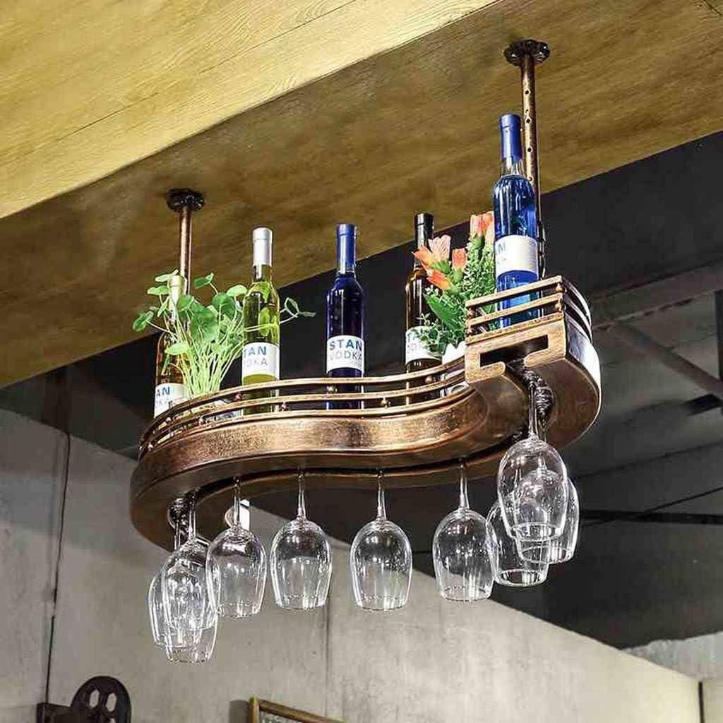 Pgige Soporte de Cuatro Copas de Vino Estante Creativo Europeo Soporte de Copa de Vino de Hierro Forjado Estante de Vino Tinto Soporte de Gafas de Estante de exhibici/ón Bronce