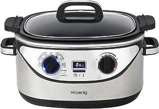 H.Koenig Cuiseur lent électrique 5,6L inox Multifonctions SLCOOK30, Slow Cooker 1350W, Fonctions préprogrammées, 12h maint...