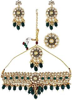 Zaveri Pearls Green Meenakari Kundan Necklace Earring Maangtikka & Ring Set For Women-ZPFK10496