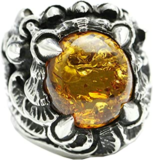 925 Sterling Silver Men's Band Comfort Fit Claw Amber Signet Ring