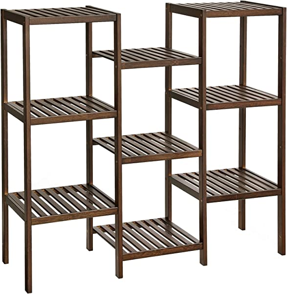 SONGMICS Bamboo Plant Stand Bathroom Storage Rack Customizable Flower Pots Holder Multi Purpose Display Rack For Living Room Balcony Walnut Color UBCB93WL