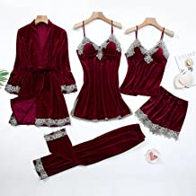 Sexy Dentelle Nightwear Pajamas Costume Intime Lingerie Femmes Veleur Sleep Ensemble Kimono Robe Velvet Soft Home Homewear...