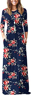 Women's 3/4 Sleeve Floral Printed Loose Plain Casual Long Maxi Dresses with Pockets