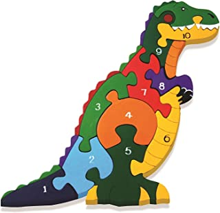 Alphabet Jigsaws Handcrafted Traditional Wooden Puzzle: Number T-Rex