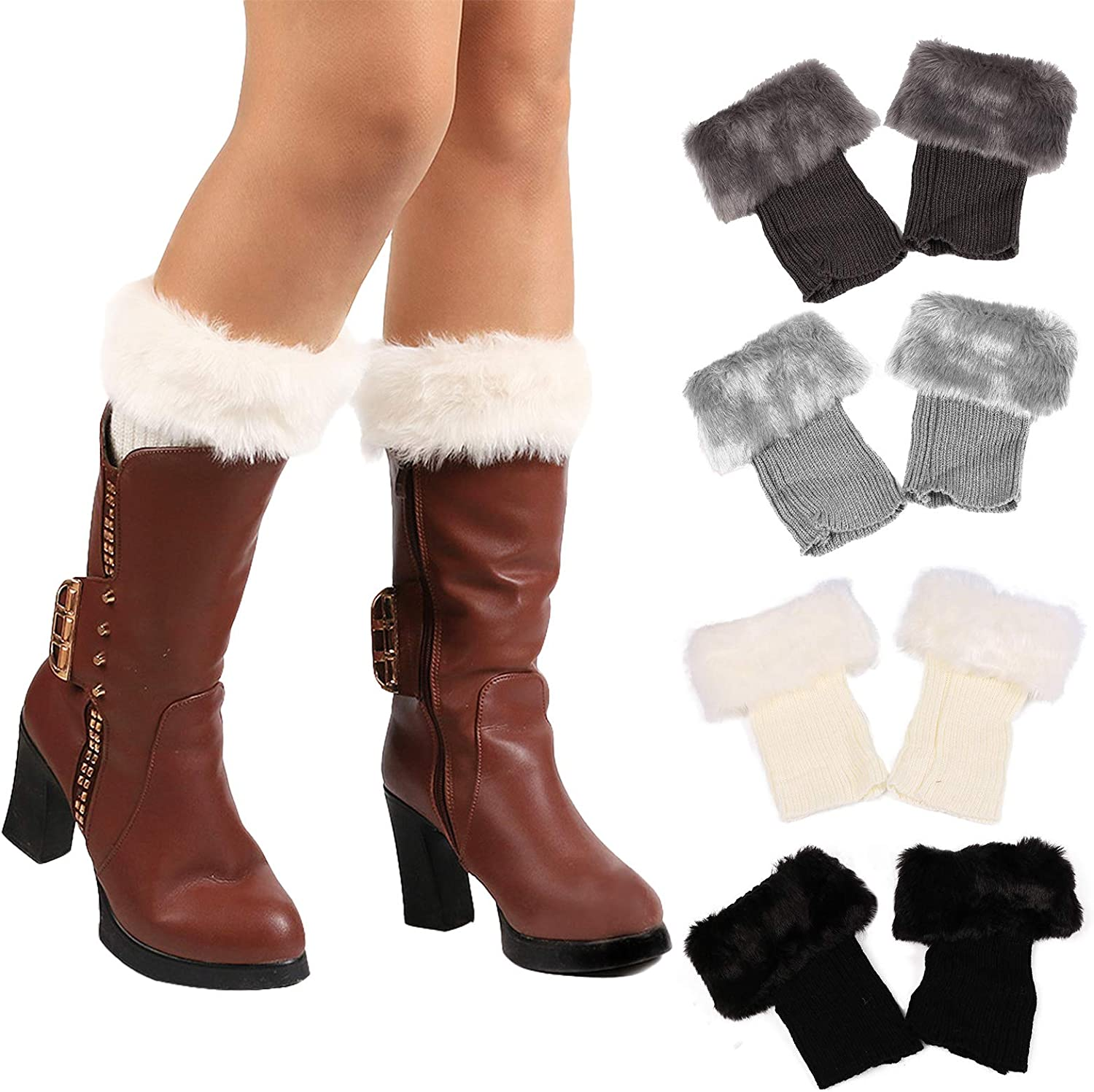 HIFUMI 4 Pairs / 6 Pairs Womens Faux Fur Trim Boot Cuff Top Cover Winter Short Knit Socks Leg Warmers, Assorted Color