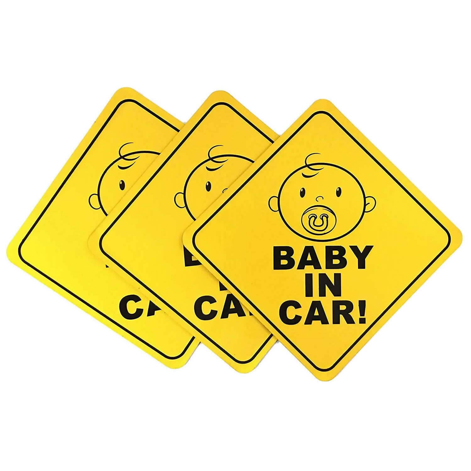 """Baby On Board Car Magnet Sticker (3 Packs), Magnetic and Reflective Safety, Cute Decal Design Sign, US Department of Transportation Recommend Color & Shape 5""""x5"""