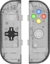 BASSTOP Translucent NS Joycon Handheld Controller Housing with D-Pad Button DIY Replacement Shell Case for Nintendo Switch Joy-Con (L/R) Without Electronics (Joycon D-Pad-Smoke Black)