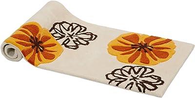 【廊下敷・キッチン・フロアマット】オレンジ花柄 50×120cm 手で洗える 滑り止め 1532003043299
