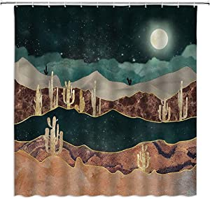 Abstract Mountain Shower Curtain Moon Mysterious Starry Sky Cactus Desert Plant Colorful Natural Landscape Art Painting Polyester Fabric Home Bathroom Decor Belt 12 Hooks 70x70Inch