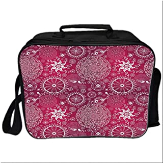 Purple Mandala Picnic Bag Cooler Bag,Bohemian Stylized Vintage Flower and Anatolian Turkish Featured Pattern for Kids Boys Girls,10.6″Lx4.7″Wx8.2″H