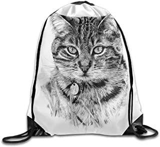 Black and White Cat Gym Drawstring Backpack Unisex Portable Sack Bag