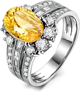 Promise Rings for Her 925 Sterling Silver Ring Oval Rings Wedding Women Rings Silver with Citrine
