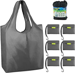 """Reusable Grocery Bags Foldable Shopping Bags Folding Shopping Tote Bag Fits in Pocket W15"""" X H15.8"""" + Handles 9.5"""" X D4.7"""" 6 Grey"""