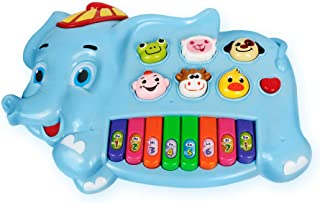 B/O Elephant w/ Music, Sound and Lights – Adorable Elephant-Themed Toddler Piano and Animal Sounds Instrument for Play and Learning – Mini Keyboard Toy Piano for Kids 6+ Months