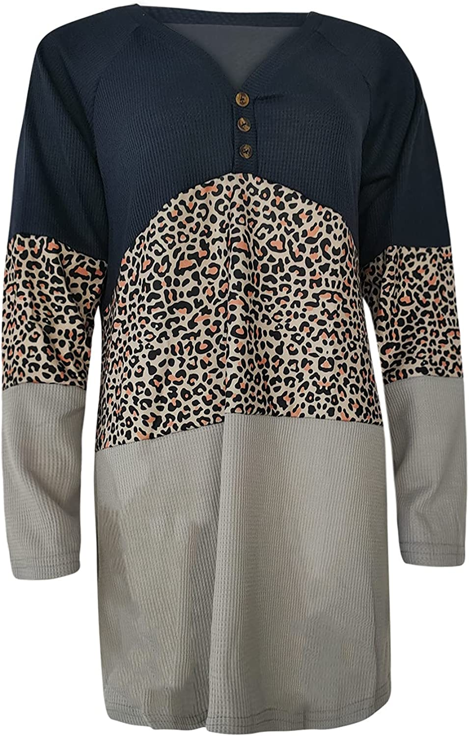 Long Sleeve Shirts for Women Sexy V Neck Leopard Tops Fashion Workout Business Loose Blouse for Autumn
