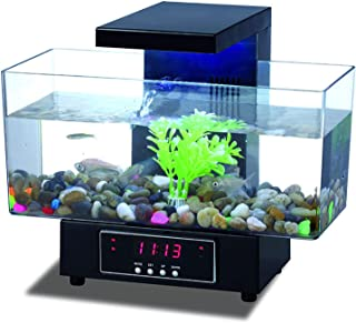 Small Fish Tank,Mini Touch Head Light Fish Tank USB Transparent Fish Tank Desktop Electronics Large-Capacity Aquarium