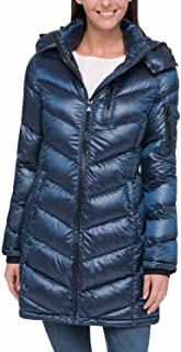Andrew Marc 女式可折叠羽绒填充长夹克带可拆卸兜帽(城市蓝,XS 码)