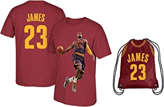 James Red Basketball Lebron T-Shirt Jersey Style Kids Youth Sizes Premium Quality Gift Set with Backpack