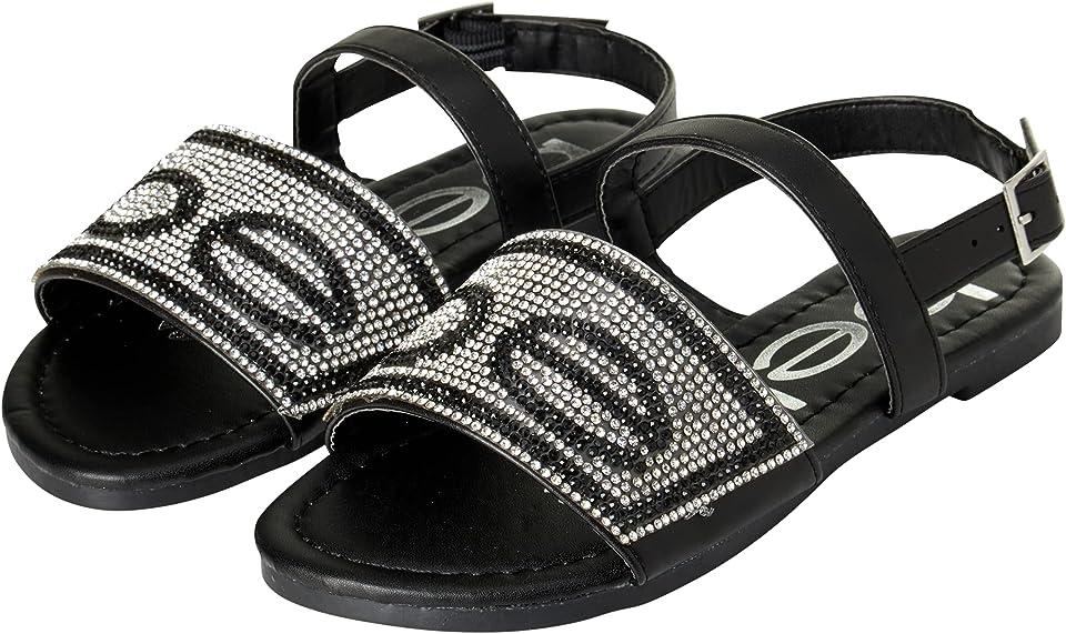 bebe Girls' Sandals - Rhinestone Open Toe Sandals with Buckle Heel Strap (Little Kid/Big Kid)