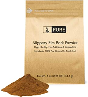 Slippery Elm Bark Extract Powder (4 oz), Highest Concentration (10:1), 100% Pure & All-Natural, Vegan, Gluten-Free Throat ...